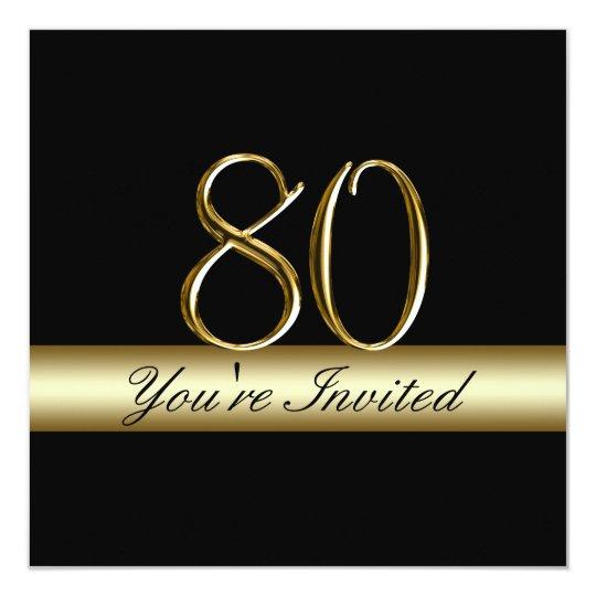 Black Metal Gold Print 80th Birthday Invitations