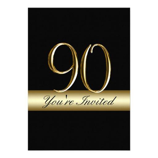 Black Metal Gold Print 90th Birthday Invitations