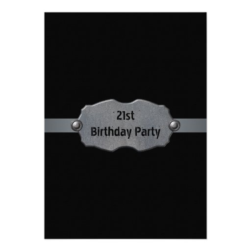 Black Metal Mans 21st Birthday Party Invitations