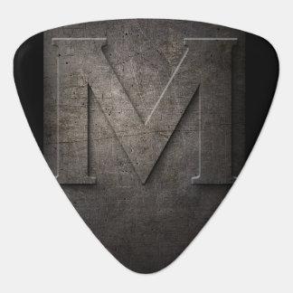 Black Metal Rustic M Monogram Guitar Pick