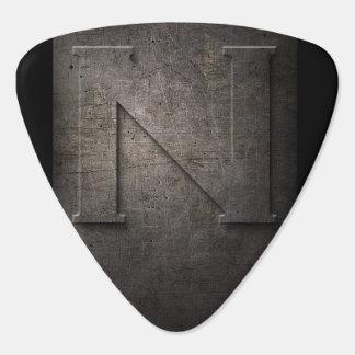 Black Metal Rustic N Monogram Guitar Pick