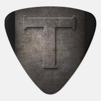 Black Metal Rustic T Monogram Guitar Pick
