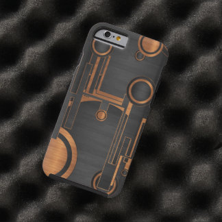 black metal with wood circles tough iPhone 6 case