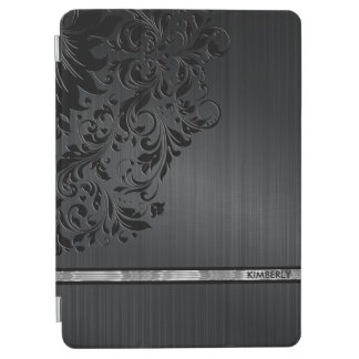 Black Metallic Background & Floral Lace Silver iPad Air Cover