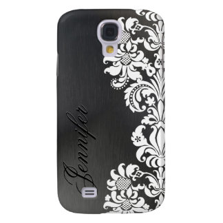 Black Metallic Background & White Floral Lace Galaxy S4 Case