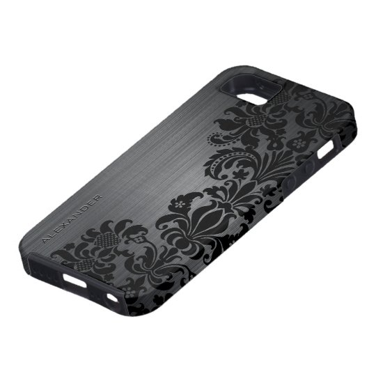 Black Metallic Brushed Aluminium & Floral Damasks iPhone