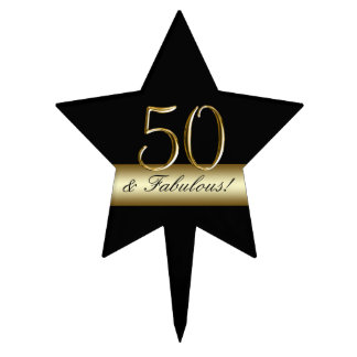 Black Metallic Gold 50th Birthday Cake Pick