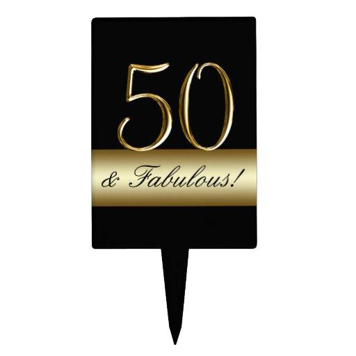 Black Metallic Gold 50th Birthday Cake Topper