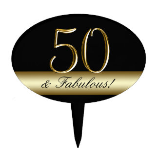 Black Metallic Gold 50th Birthday Cake Toppers