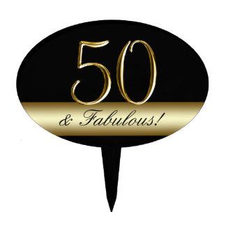 Black Metallic Gold 50th Birthday Cake Toppers