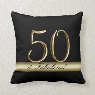 Black Metallic Gold 50th Birthday Cushion