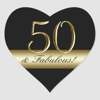 Black Metallic Gold 50th Birthday Heart Sticker