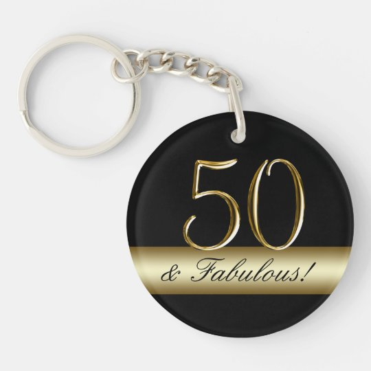 Black Metallic Gold 50th Birthday Key Ring