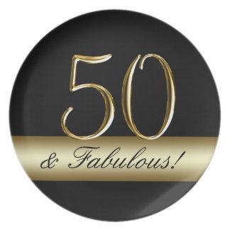 Black Metallic Gold 50th Birthday Plate