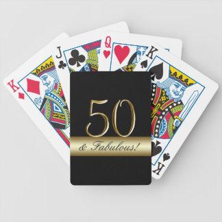Black Metallic Gold 50th Birthday Poker Deck