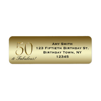 Black Metallic Gold 50th Birthday Return Address Label