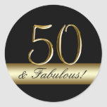 Black Metallic Gold 50th Birthday Round Sticker
