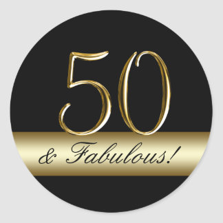 Black Metallic Gold 50th Birthday Round Sticker