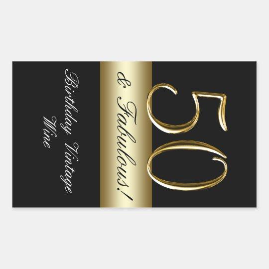 Black Metallic Gold 50th Birthday Wine Label