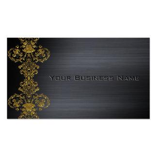 Black Metallic  Gold Damask Corporate Business Business Card Templates