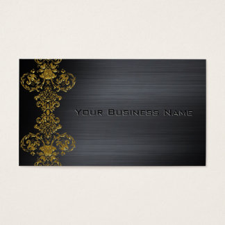 Black Metallic  Gold Damask Corporate Business Business Card
