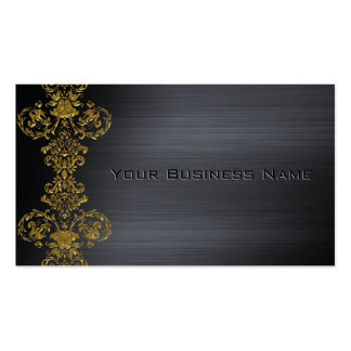 Black Metallic  Gold Damask Corporate Business Pack Of Standard Business Cards