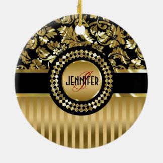 Black & Metallic Gold Floral Damasks & Stripes Christmas Ornament