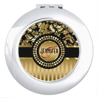 Black & Metallic Gold Floral Damasks & Stripes Vanity Mirror