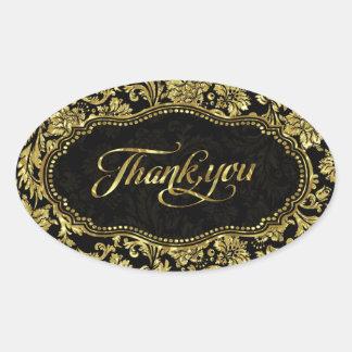 Black & Metallic Gold Floral Damasks Thank You Oval Sticker
