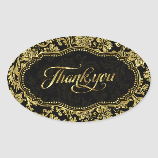Black & Metallic Gold Floral Damasks Thank You