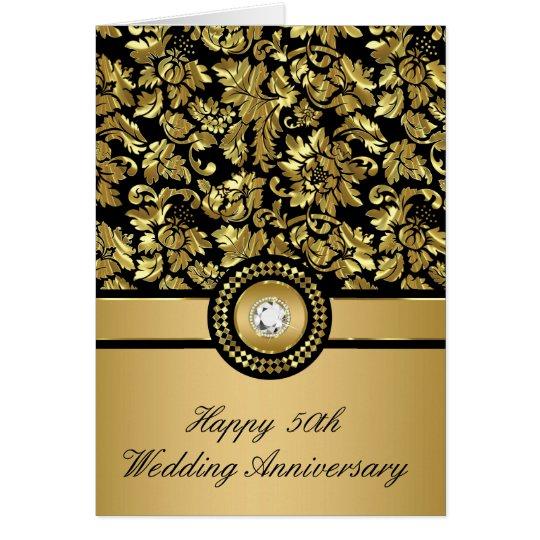 Black & Metallic Gold Vintage Damasks Card