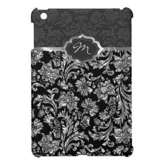 Black & Metallic Gray Floral Damasks Monogram 2 iPad Mini Cases