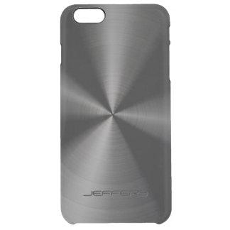 Black Metallic Pattern Stainless Steel Look 3 Clear iPhone 6 Plus Case