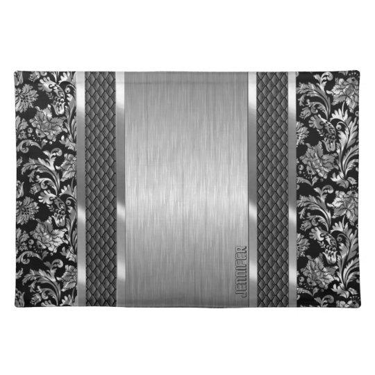 Black & Metallic Silver Brushed Steel And Damask Place Mat