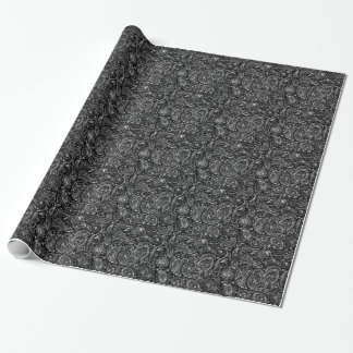 Black & Metallic Silver Floral Paisley Lace Wrapping Paper