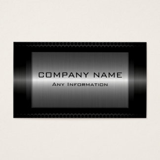 Black Metallic Silver Gray Steel Metal Look Business Card