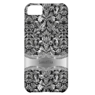 Black & Metallic Silver Gray Vintage Damasks iPhone 5C Case