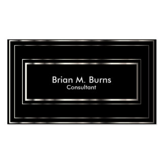 Black Metallic Silver Lines Pack Of Standard Business Cards