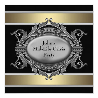 Black Mid-Life Crisis Mans 40th Birthday Party 13 Cm X 13 Cm Square Invitation Card