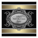 Black Mid-Life Crisis Mans 40th Birthday Party Announcements