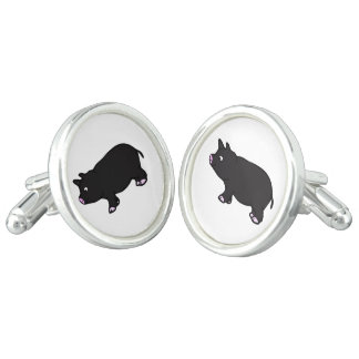 Black Mini Pig Cuff Links