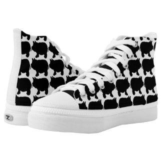 Black Mini Pig Zipz High Top Shoes, Printed Shoes