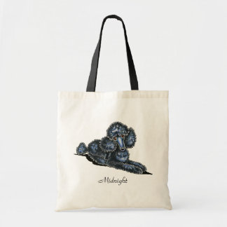 Black Mini Poodle Lay Pretty Personalized Tote Bag