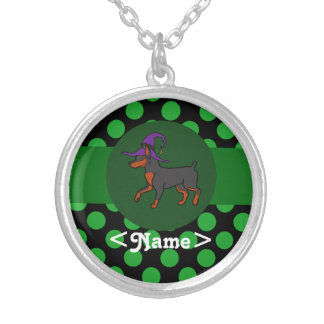 Black Miniature Pinscher Witch with Green Dots Round Pendant Necklace