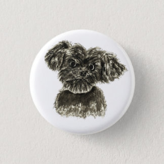 Black Miniature Schnauzer Puppy Watercolour Design 3 Cm Round Badge