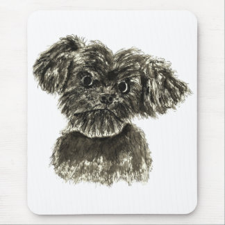 Black Miniature Schnauzer Puppy Watercolour Design Mouse Mat