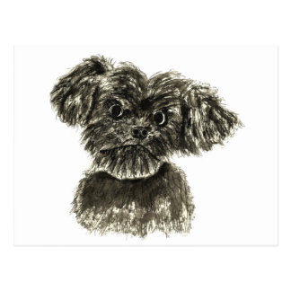 Black Miniature Schnauzer Puppy Watercolour Design Postcard