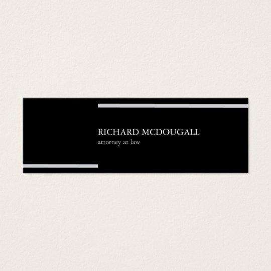 Black minimal congregation stripes classy chic mini business card