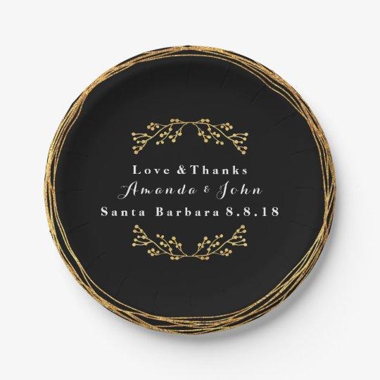 Black Minimal Gold Floral Decor Wreath Wedding Paper
