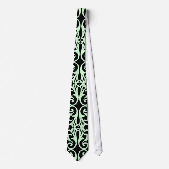 Black & Mint Flourish Tie